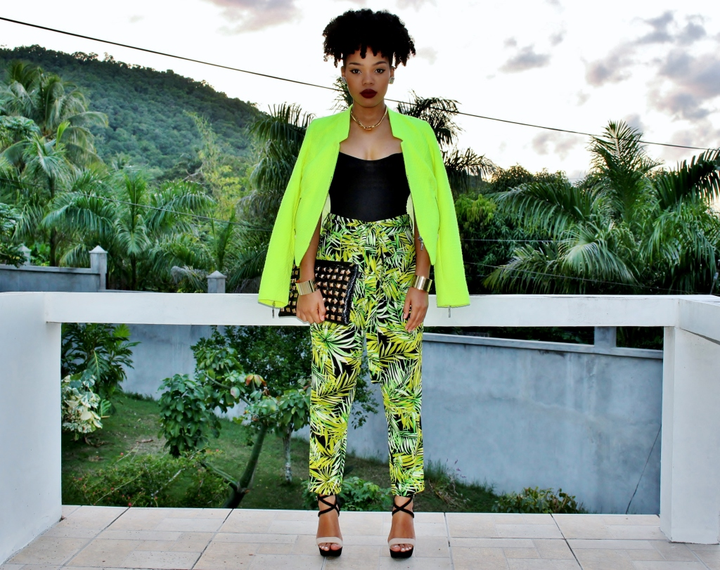 how-to-wear-palm-print-pants-neon-blazer-ootd-stylishlee